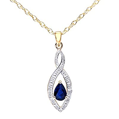 Ariel 9ct Yellow Gold Diamond and Sapphire Women's Pendant and 41cm Chain