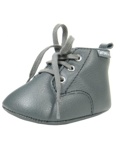 Baby Boys Oxford Chukka Soft Sole Ankle Boots By Gerber - Gray - 2 Infant / 3 Mths-6 Mths front-246827