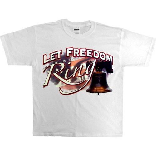 Youth T-Shirt : Pink - X-Small - Let Freedom Ring - Liberty Bell Us Flag Patriotic