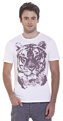 Retreez Vintage Tiger Head Graphic Printed Unisex Men / Women T-Shirt - White - Small