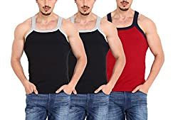 ZIMFIT Gym Vest - Pack of 3 (2Black_1Red_90)