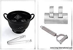 King International Stainless Steel kitchen accessoriess Black Colander with Tong and Salt and pepper and Peeler Set of four piece.