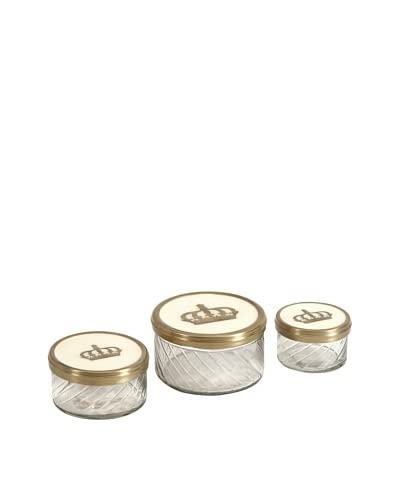 Set of Three Crown Jars with Brass and Porcelain Lid