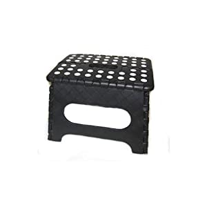 Kikkerland EZ Fold Short Step Stool, Black