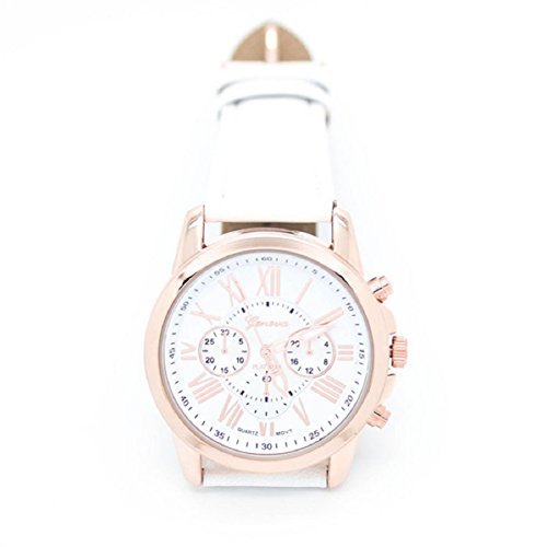 Doinshop Women'S Fashion Geneva Roman Numerals Faux Leather Analog Quartz Wrist Watch (White)