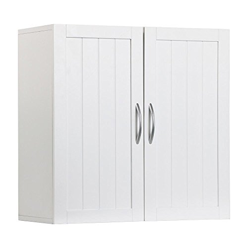 Topeakmart White Wooden Bathroom Wall Cabinet Toilet Medicine Storage Organizer with Adjustable Shelf Cupboard Unit (Wall Units Antique White compare prices)