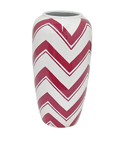 Three Hands Wide Chevron Ceramic Vase, Red/White