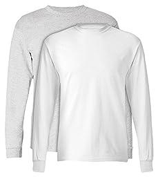 Hanes, 5586, Men\'s, Tagless Long Sleeve Tee, 1 Ash + 1 White, Large