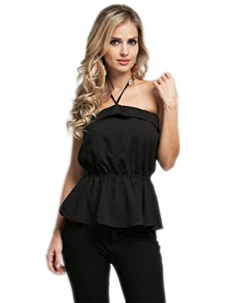 G2 Chic Women's Trimmed Strapless Ruffled Halter Top(TOP-CAS,BLK-L)