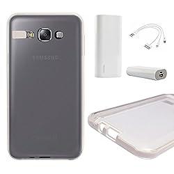 DMG LED Flashing Call Notification TPU Back Cover Case for Samsung Galaxy E7 (White) + 3600 mAh Power Bank
