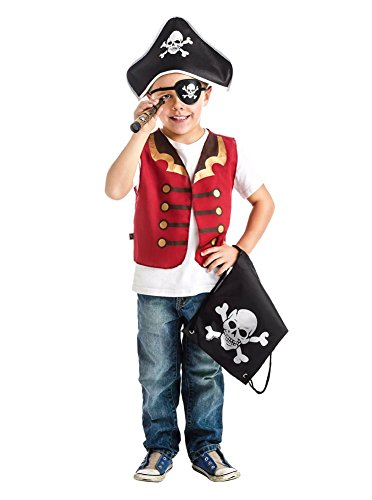 Pirate Gift Set With Hat Vest Eye Patch Telescope And Drawstring Backpack