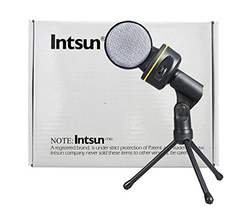 Intsun® 3.5Mm Wired Condenser Microphone Mic With Tripod For Pc Laptop Computer Skype Msn Karaoke