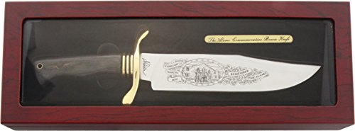 Alamo Bowie Knife Etched Blade Wooden Display Glass Front Brass Sheild