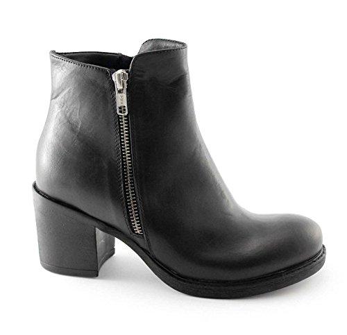DIVINE FOLLIE MI2020 nero scarpe stivaletti donna tacco doppia zip 36