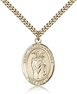 Gold Filled Men's Patron Saint Medal of ST. THOMAS A BECKET - Includes