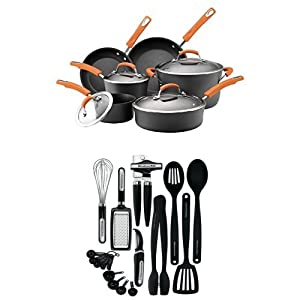 Rachael Ray Hard Anodized II Nonstick Dishwasher Safe 10-Piece Cookware Set (Orange) + 17-Piece Kitchen Tool Set (Black)