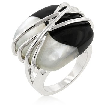 White Gold Rhodium Bonded Cocktail Ring with Rhodium Plated Wire Setting and Fused White Shell Pearl and Black Onyx Stone in Silvertone