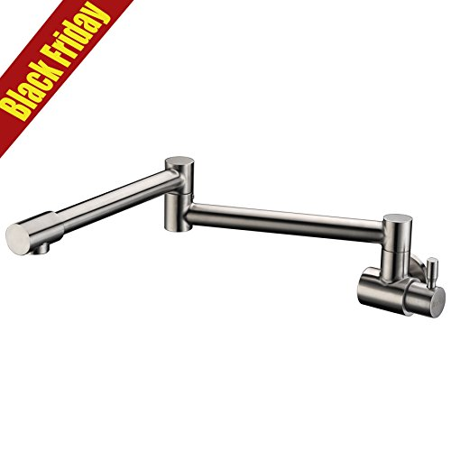 Avola AUSM-135YBN Single Function 1 Hole Wall Mount Retractable Pot Filler Kitchen Faucet , Brushed Nickel Tiny Handle Stainless Steel Kitchen Specific Faucet (Nickel Pot Filler compare prices)