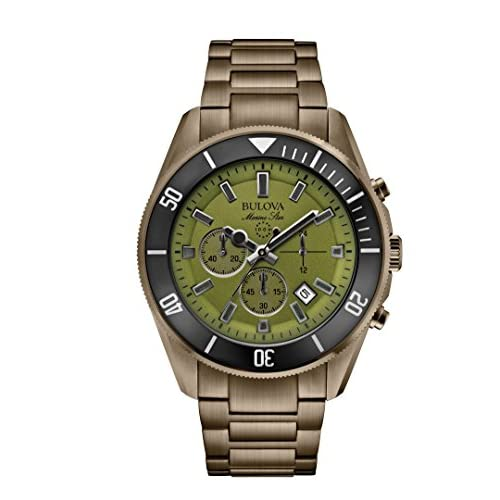 Bulova Marine Star Men's Quartz Watch with Green Dial Chronograph Display and Green Stainless Steel Plated Bracelet...