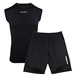 MADHERO Men\'s Summer Pure Color Athletic Top and Lightweight shorts Soft Tracksuit Size S Color Black