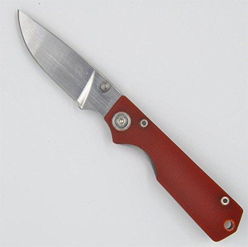 Sanrenmu Gr5-605 Pocket Edc Folding Knife Red G10 Handle Liner Lock W/ Clip