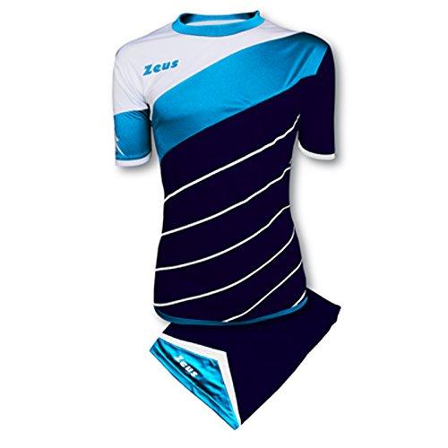 Kit Zeus Lybra Uomo Blu-Light Royal-Bianco Completino Completo Calcio Calcetto Torneo Scuola Sport Training Volley Pegashop (M)