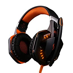 DIZA100 Computer Gaming Headset,Stereo Over-ear Headphones with Mic for PC Mac - Orange