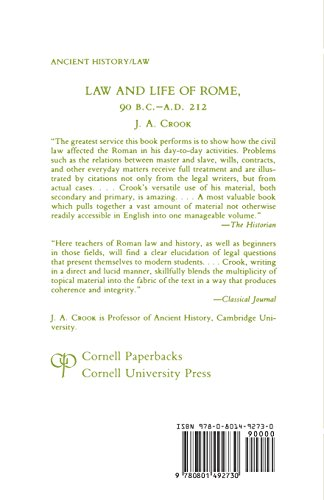 Law and Life of Rome, 90 B.C.-A.D.212 (Aspects of Greek and Roman Life)