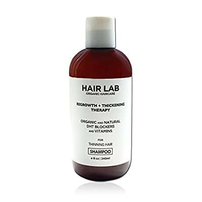 Hair Lab Shampoo for Hair Loss Hair Regrowth and Thinning Hair. Organic Ingredients. DHT Blockers, Caffeine, Argan Oil. Suitable for All Hair Types. Sulfate-Free.