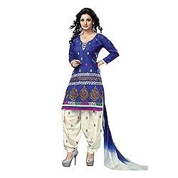 Aagaman Fashion Blended Cotton Unstitched Salwar Suit (TSTZSK46_Blue)