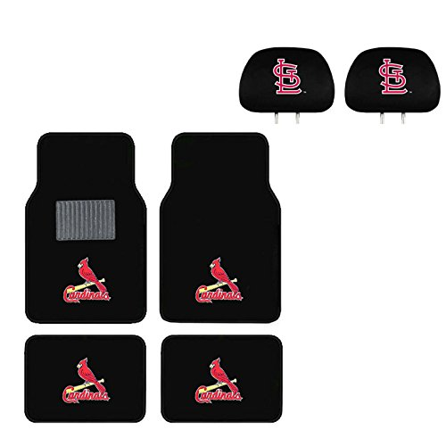 Cardinal Head Rest Cover and Floor mat. Wow! Logo On Front and Rear Auto Floor Liner. You get 2 headrest covers and 4 Floor Mat in this gift set. Perfect to St. Louis Cardinals' Fan (Cardinal Car Seat Covers compare prices)