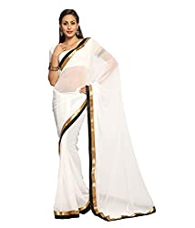 SRP Fashion Selection Women's Georgette Saree (SRP-OF43, White)