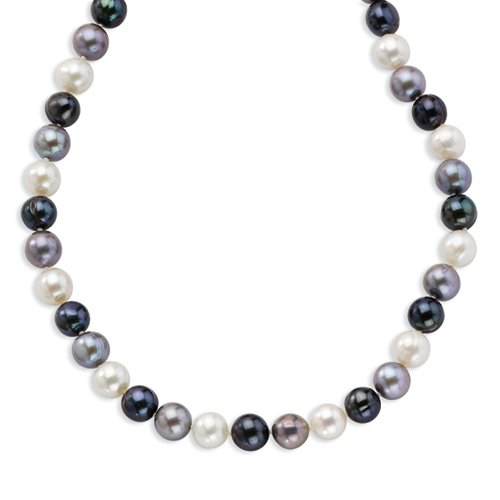 Sterling Silver 8-8.5mm FW Cultured White/Platinum/Black Pearl Necklace