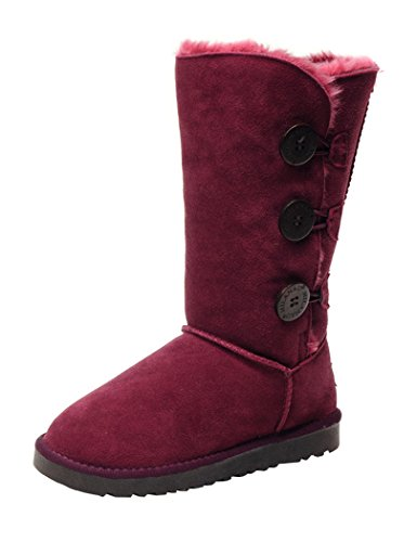 Milanao Women'S Knee High Fully Fur Lined Three Button Shearling Boots (6.5 B(M) Us, Red Wine)