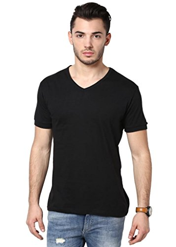 Inkovy Men's V-Neck Half Sleeve Cotton T-Shirt [Black_Large]