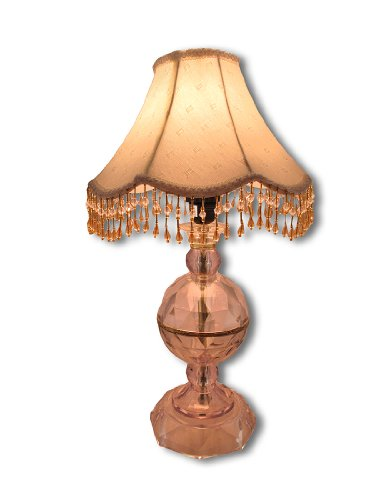 Faceted Crystal Clear Table Lamp With Beaded Fringe Shade front-1001235