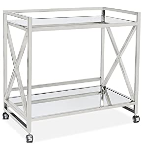 amazon com kerry hollywood regency stainless steel amazon com melrose serving cart in brushed nickel walnut