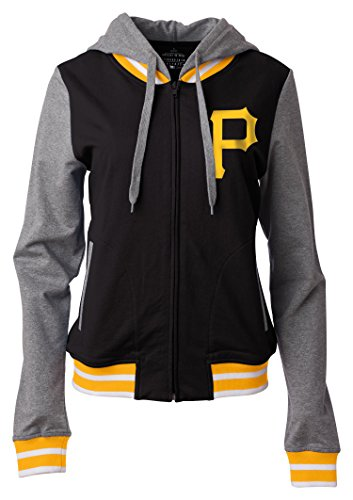 MLB Pittsburgh Pirates Women's Zip Front French Terry Hoodie with Contrasting Sleeves, Black, Large