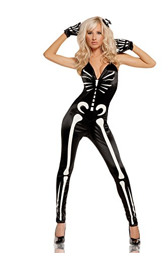 Sexy Glow In The Dark Female Skeleton Halloween Roleplay Popular Costume 3pc Set