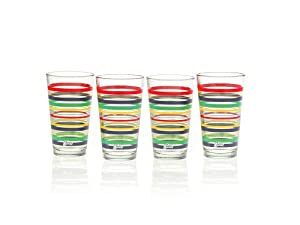 Fiesta Multi-Color Stripe Glassware, 16-Ounce Tapered Cooler, Set of 4 by Unknown