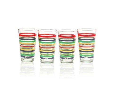 Fiesta Multi-Color Stripe Glassware, 16-Ounce Tapered Cooler, Set of 4