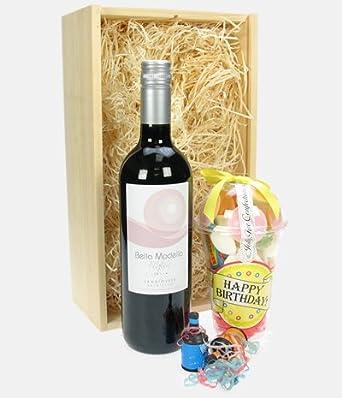 Birthday Gift Idea - Red Wine And Retro Sweets Birthday Hamper
