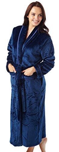 Donna Flanella Pile Accappatoio Accappatoio Grigio Bordi in raso rosso Navy foglia prugna rosa Full Length Navy blue M