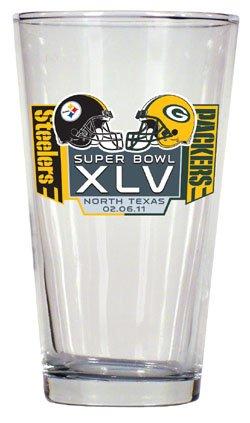 Pittsburgh Steelers vs Green Bay Packers Super Bowl XLV 45 Beer Pint Glass