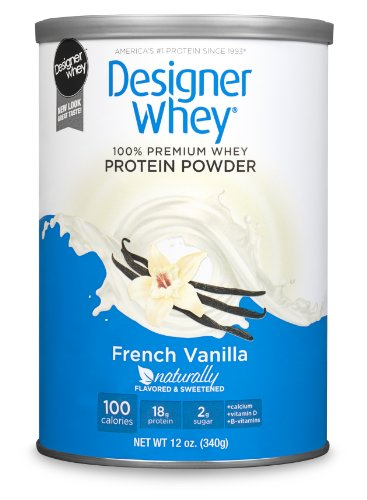 DESIGNER WHEY 100% Premium Whey Protein Powder, French Vanilla, 12-Ounce Canister,(Pack of 2)
