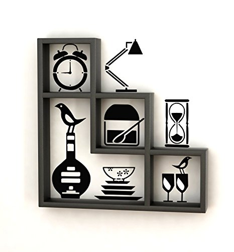 Home Sparkle Wooden L-Shaped Wall Rack with Wall Stickers (Black)