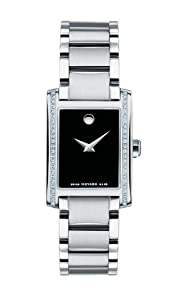 Movado Women's 0606405 Certe Stainless-Steel and Diamonds Black Watch