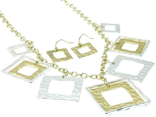 NECKLACE AND EARRING SET METAL SQUARE SILVER Fashion Jewelry Costume Jewelry fashion accessory Beautiful Charms