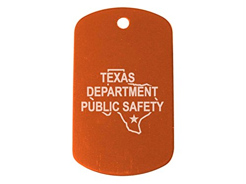 "Police Texas Tx Dps Orange Dog Tag 24"" Chain And Silencer Custom Engraved By Ndz Performance"