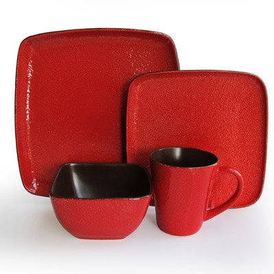 American Atelier Caliente 16-Piece Dinnerware Set, Red